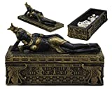 Ebros 8' Long Ancient Egyptian Beautiful Queen Cleopatra in Repose Decorative Jewelry Box Figurine Personification of Goddess Isis Patroness of Magic Nature and Beauty Trinket Storage Figurine