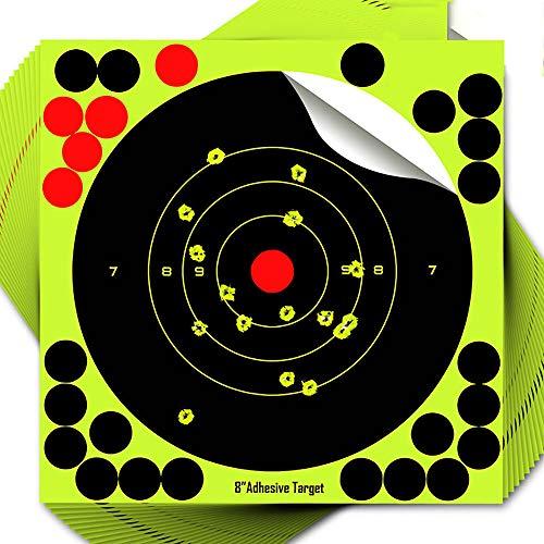 AEUWIER Blancos de Tiro de 8, 50 Disparos estallan en Amarillo Fluorescente Brillante al impactar, excelente para práctica de Tiro, Rifle, Pistola, Airsoft, Rifle de Aire