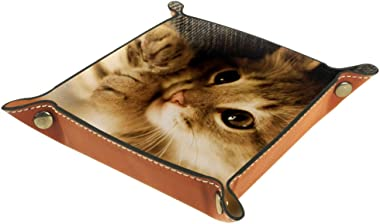 Cat Face Valet Tray Storage Organizer Box Coin Tray Key Tray Nightstand Desk Microfiber Leather Pouch,16x16cm