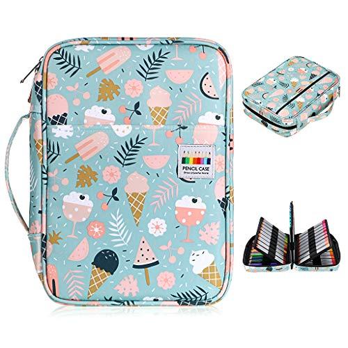 BTSKY Colored Pencil Case 220 Slots Pen Pencil Bag Organizer with Handy Wrap Portable- Multilayer Holder for Prismacolor Crayola Colored Pencils & Gel Pen Ice Cream