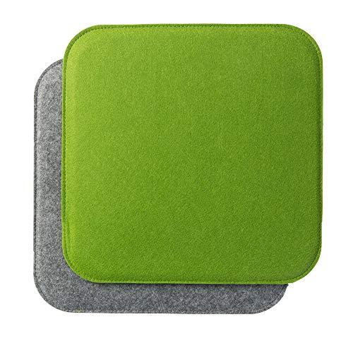 luxdag Gepolstertes Stuhlkissen '34x34cm' zweifarbig, grün/grau (Farbe & Form wählbar) | Quadratisches Sitzkissen aus Filz (2er Set)