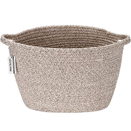 Sea Team Oval Cotton Rope Woven Storage Basket with Handles, Diaper Caddy, Nursery Nappies Organizer, Baby Shower Basket for Kid's Room, 14.2 x 9 x 11.4 Inches (Medium Size, Mottled Brown)