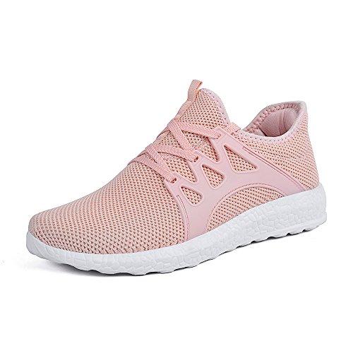 ZOCAVIA Herren Damen Sneaker Running Laufschuhe Sportschuhe rutschfeste Sneaker, Rosa1, 37 EU