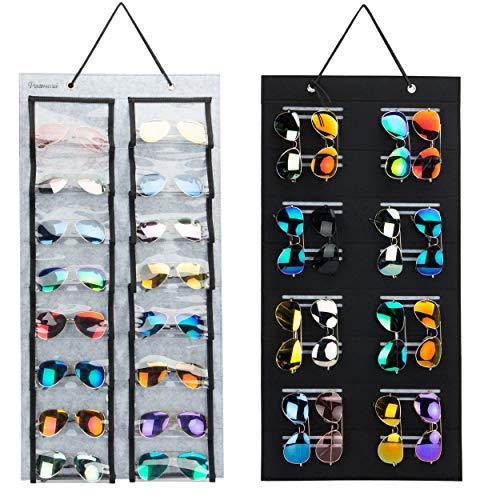 Organizador de gafas de sol a prueba de polvo, 32 ranuras de doble cara para almacenamiento de gafas de sol, almacenamiento de...