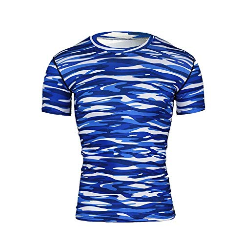 BOLANQ Shirt Herren, Mode für Männer Kurzarm Yoga Fitness Print Casual T-Shirt Sport Top Bluse(XX-Large,Blau)
