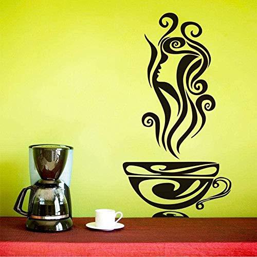 Muurstickers, lekker, hete koffie, koffiekopjes, DIY, vinyl, behang, stickers, bakkerij, café, winkel, decoratie, 31 x 59 cm