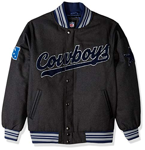 NFL Dallas Cowboys Mens GIII Varsity Jacket, Charcoal, Large