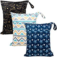 Babygoal Wet Dry Bags for Baby Cloth Diapers, Washable Travel Bags, Beach, Pool, Gym Bag for Swimsuits & Wet Clothes with Two Zippered Pockets 3 Pack,3LN06