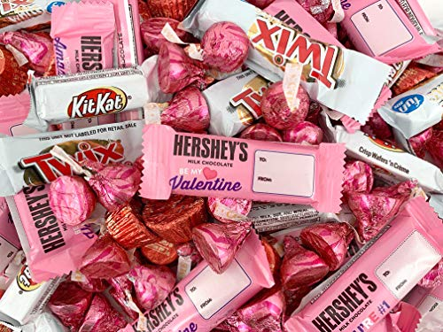 Valentine's Day Candy Bar Assortment - KitKat Miniatures, Kisses Caramel, Reese's Peanut Butter Cups, Hershey's Snack Size Bar (3 Pound Bag)