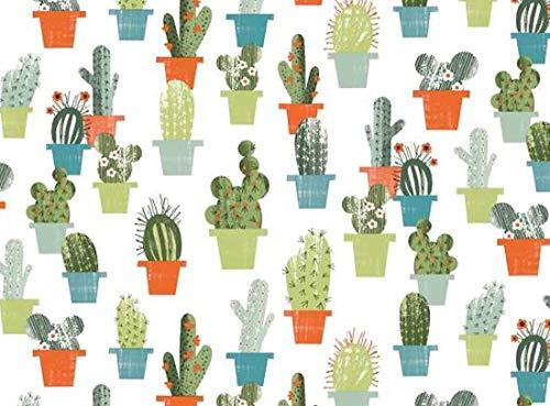 Nappe de jardin ovale en PVC/vinyle – Cactus vert avec trou pour parasol (140 x 250 cm)