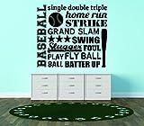 Diseño con vinilo Rad 8921béisbol único doble Triple Home Run Strike Grand Slam Swing Slugger Foul Play Fly ball Batter Up. Niños Dormitorio Deporte cita pared Decal