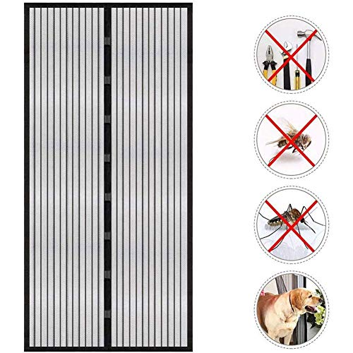 KSITH Anti Mosquito Magnetic Soft Door Easy to Install Curtain Magnet Automatically Closed Mute Curtain Suitable for Balcony Bedroom Living Room Kitchen (Black White)