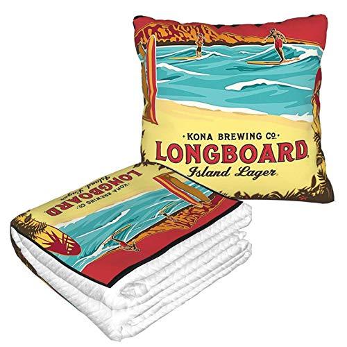 XCNGG Kona Longboard Island Lager Reisekissen Decke Gut gereist 2 in 1 Wurfdecke Ideal für Flugzeug Auto Zug Reisen Camping Ultra Soft and Cosy