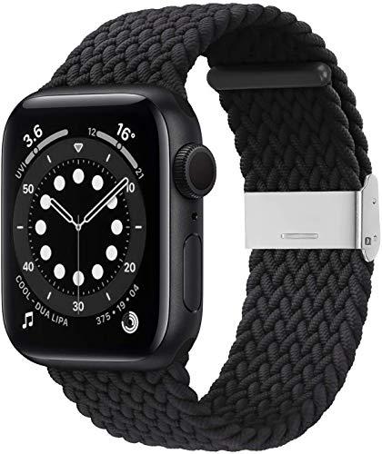 VeveXiao Cinturino in nylon compatibile con Apple Watch SE, 38 mm, 40 mm, unisex, regolabile, bracciale sportivo per iWatch serie 6/5/4/3/2/1 e Argento, colore: Nero