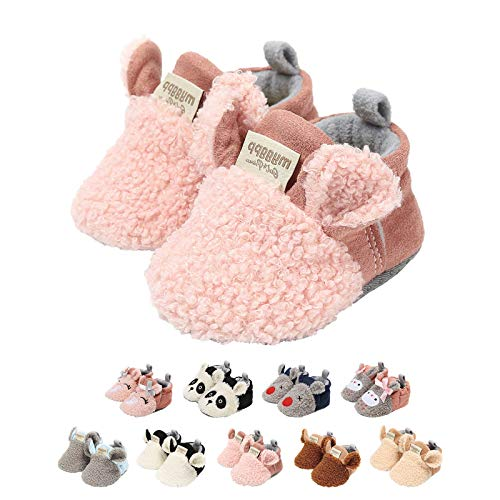 EDOTON Unisex Neugeborene Tier Schuhe,Süß rutschfest Sohle Weich Winter Warm Haus Innen Ausdruck Stiefel zum Baby Jungs Mädchen (0-6 Monate, C_Rosa)