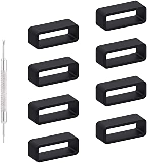 Adebena 8 Packs Rubber Replacement Watch Band Strap Loops, Watch Bands Keeper Size 14mm 16mm 18mm 20mm 22mm 24mm 26mm with Removable Tools