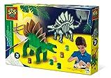 SES Creative- Dinosaurio Set de construcción en Madera, Multicolor (14209)