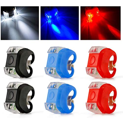 Bestevery 6 Stück Fahrradlicht Silikon, LED Silikon Fahrradlicht, rücklichter Fahrrad, Vorder- und Rücklicht, Set mit wasserdichtem Silikongehäuse für Fahrradsicherheit, LED Silikon Fahrradleuchten