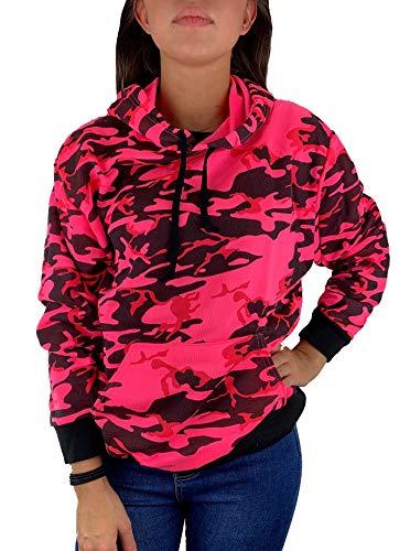 Worldclassca Damen Kapuzenpullover Camouflage TARN Sweatshirt Sport Hoodie Langarmshirt Oberteil Pulli Fitness NEON PINK Blogger NEU (36/38 - S/M, Pink-Neon)