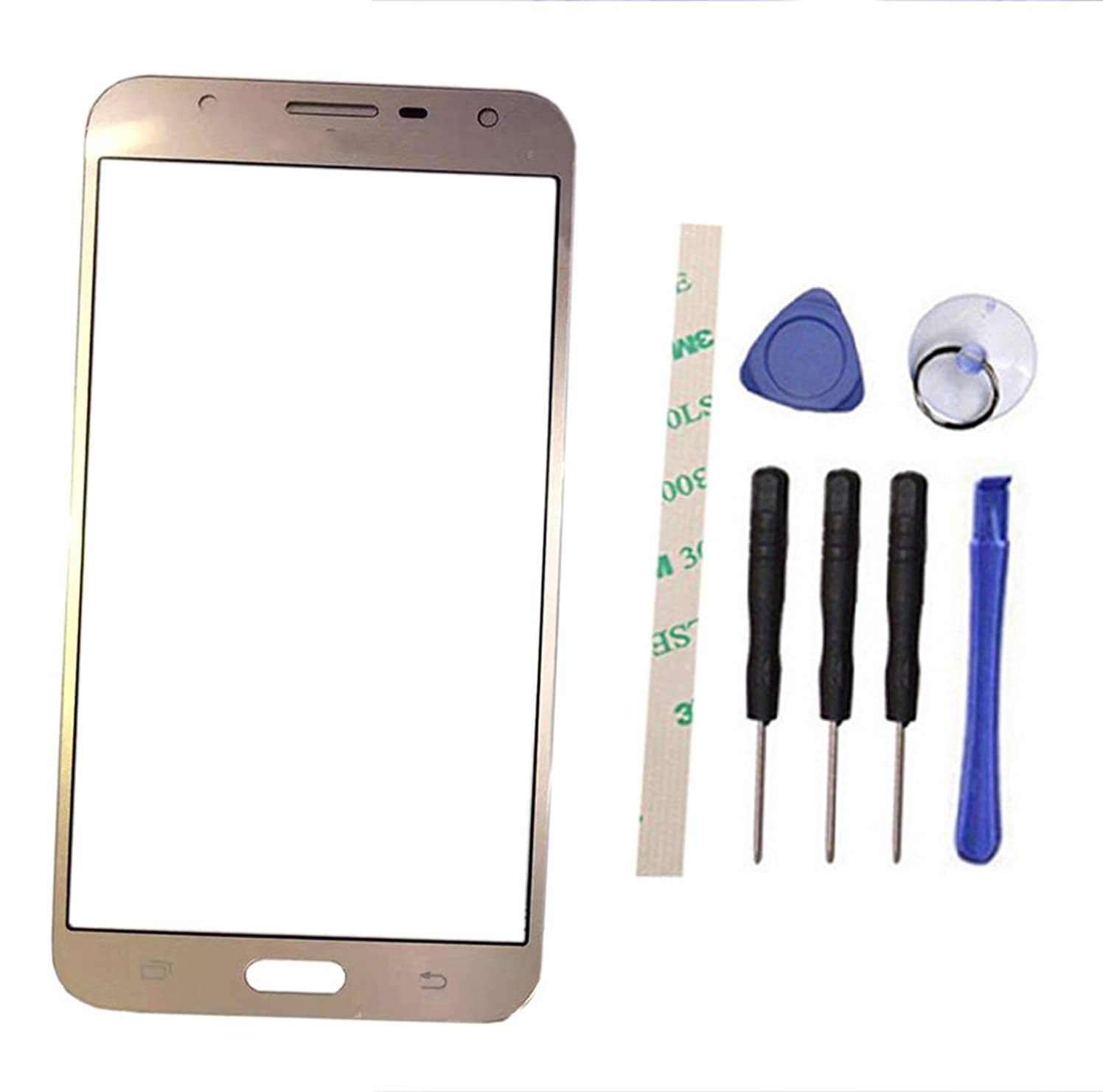 Outer Screen Front Glass Lens Replacement for Galaxy J7 Neo 2017 J701 J701M J701M/DS / J7 Nxt 2017 J701FZ J701F/DS (Not LCD and Not digitizer) (gold)