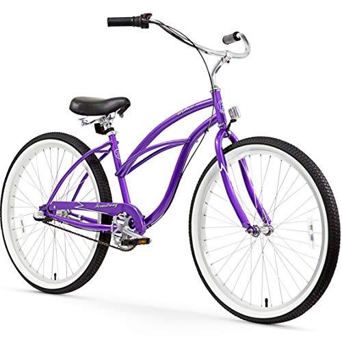 Firmstrong Urban Lady Three Speed Beach Cruiser Bicycle, 26-Inch, Purple