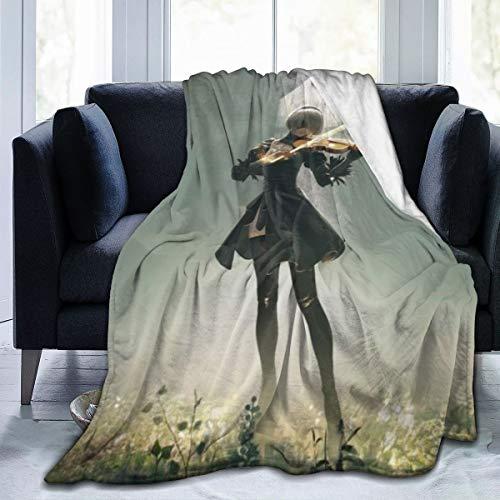 ETOB NieR Automata 2B Supernatural Ultra-Soft Micro Flano Bed Coperte Lussuosa Accogliente Stampata Peluche Coperta per Divano Poltrona Soggiorno 127 x 101,6 cm
