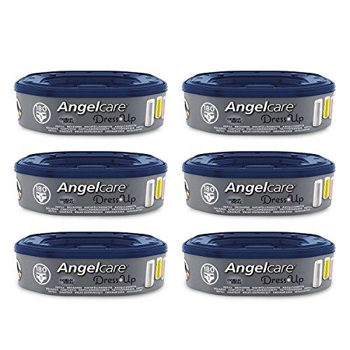 Angelcare - Dress Up - Recharges Octogonales pour Poubelle à Couche Dress up/Essential - Anti Odeurs et Grande Capacité - Lot de 6