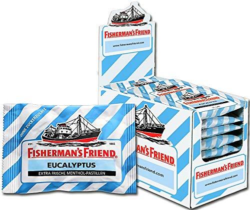 Fisherman's Friend Eucalyptus | Karton mit 24 Beuteln | Menthol und Eukalyptus Geschmack | Zuckerfrei für frischen Atem