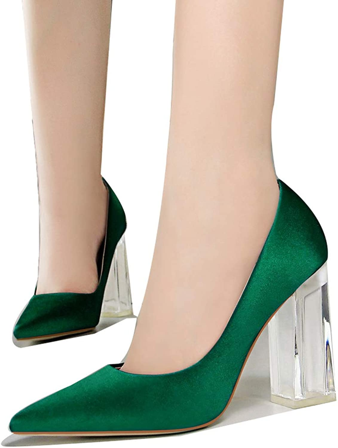 Drew Toby Women Pumps Sexy Transparent Heel Wedding Shallow Pointed-Toe Office High Heels