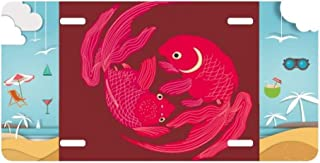 cold master DIY lab Painting Japanese Culture Red Fish License Plate Car Decoration Beach Sea Holiday