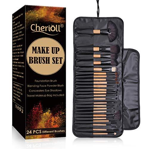 Brochas de Maquillaje, 24pcs Maquillaje Profesional Pinceles Maquillaje de Ojos Rubor Contorno de los Labios Corrector Brochas Cosméticas + Bolso Negro