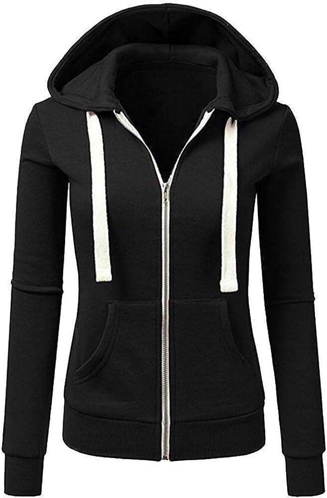Fastbot women's Full Zip Hoodie Zipper Up Sweatshirt Solid Color Pullover Long Sleeve Casual Outwear Kangaroo Pocket