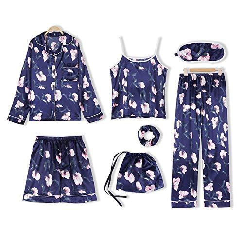NFSQ Pink Ms. Lot de 7 patins à pajamas Imitation Silk Striped Pajamas Ms. Spring Summer Home Wear, Couleur 5, Medium