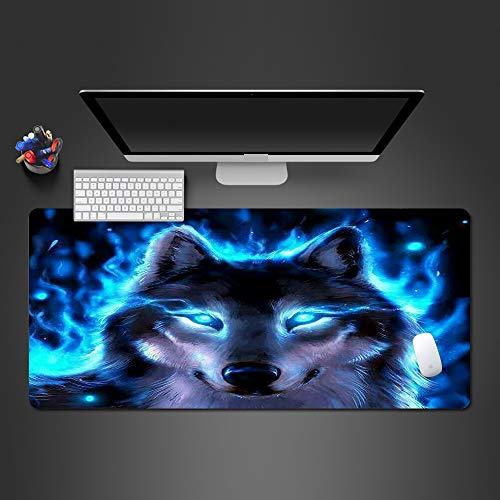 Honghuahui Cool Cold Light Blue Eyed Wolf Mousepad, hoogwaardig, van rubber, gaming-toetsenbord, creatief, modieus cadeau 900x300x2MM