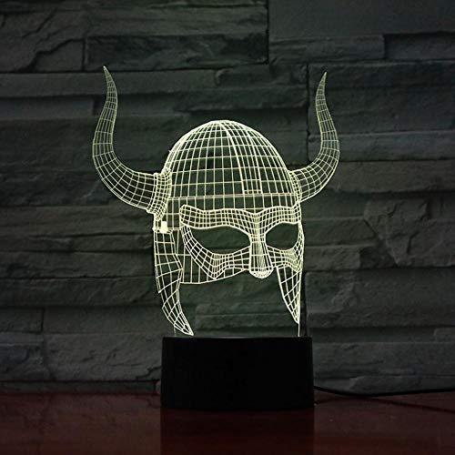 3D Led Usb Kunst Dekoration Lampe Wikinger Helme Sichtbares Licht Beeinflussen Farbwechsel Mit Besten Dekoration Nachtlicht Lampholiday Geburtstagsgeschenk