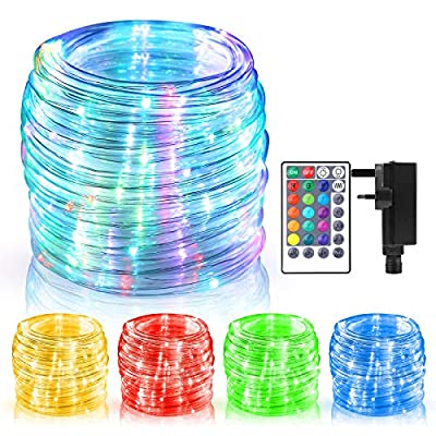 ECOWHO Rope Lights Mains Powered?49ft/15m 150 LEDs RGB Extendable Fairy String Lights With Remote & Timer, Waterproof Color Changing Strip Lights for Indoor Outdoor Party Christmas Patio Bedroom