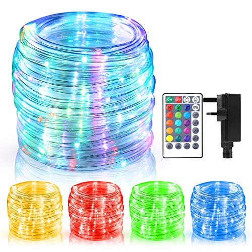 ECOWHO Rope Lights Mains Powered,49ft/15m 150 LEDs RGB Extendable Fairy String Lights With Remote & Timer, Waterproof Color Changing Strip Lights for Indoor Outdoor Party Christmas Patio Bedroom