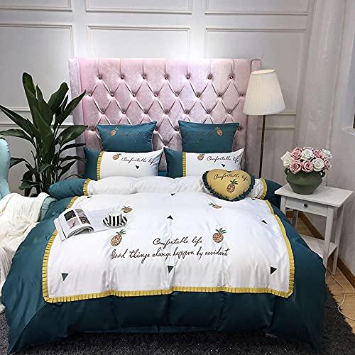 ropa de cama 135x190 3 piezas,Juego de cuatro piezas de la cama de seda nórdica, princesa linda cómoda reversión transpirable anti-desvanecimiento hojas de la chaqueta de la almohada regalo-C_1,8 m d
