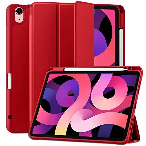 Maledan Funda Compatible con iPad Air 4/Funda iPad Air 2020, Carcasa de TPU Suave de Cuero PU Premium para iPad Air 10.9 Pulgadas 2020, [Soporte para el Pencil] [Auto-Sueño/Estela] - Rojo
