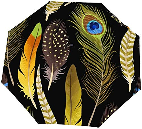 Paraguas manual de tres pliegues Plumas decorativas Imagen vectorial sin costuras Paraguas plegable triple impermeable Nano Protector solar que cubre el sol y la lluvia-Manual