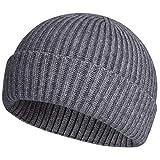 ROYBENS Swag Wool Knit Cuff Short Fisherman Beanie for Men Women, Winter Warm Hats, Gray
