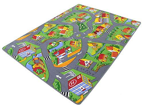 HEVO Stadt Land Fluss Teppich | Kinderteppich | Spielteppich 100x200 cm