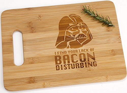 Darth Vader I Find Your Lack Of Bacon Disturbing Engraved Bamboo Wood Cutting Board with Handle Star Wars Gift