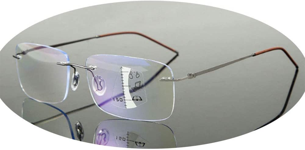 ZZAI Gafas de Lectura lejos y Cerca de Doble Uso múltiple HD Anti-Azul/Inteligente Zoom Anti-Fatiga Protección de Ojos Lectura Gafas Hombres y Mujeres -6 Dioptrería Color- + 1.0