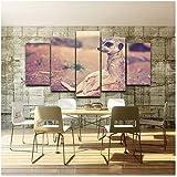Ywsen Dekoration Wohnzimmer Kunst 5 Panel Erdmännchen Tier