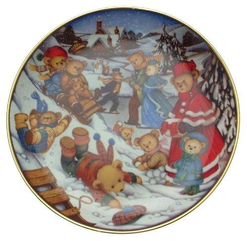 Franklin Mint Plaque d'ours en Peluche Teddy Bear Winter Frolic Carol Lawson – Cp1786