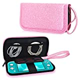 ACdream Case Fits Nintendo Switch Lite, Premium PU Leather Protective Case Bag for New Nintendo Switch Lite 5.5 inches 2019 Release with Portable, 6 Game Cards, Zipper Closure, Glitter Pink