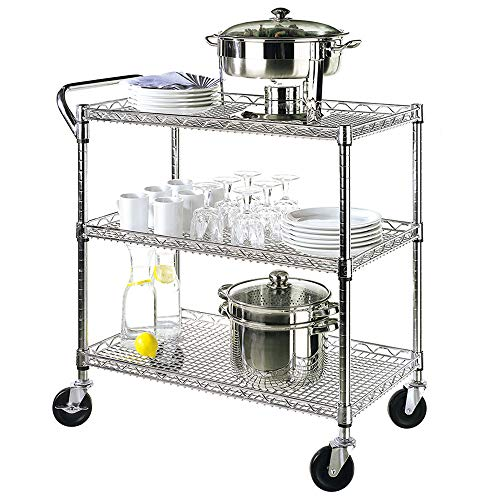 Seville Classics 3-Tier UltraDurable Commercial-Grade NSF-Certifed Storage Utility Service Cart, 34'...