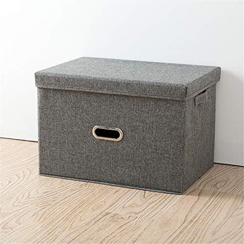 Algodón y lino plegable caja de almacenamiento, cajón de almacenamiento, caja de almacenamiento de tela, ropa interior portátil, calcetines, cosméticos juguetes caja de almacenamiento gris 37*27*26cm