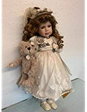 rf collection Porseleinen pop, crème jurk & teddy, 55 cm, houten standaard